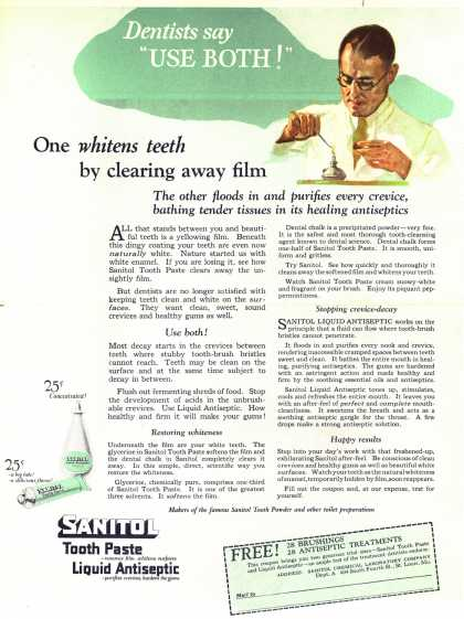 "Sanitol Chemical Laboratory Company's Sanitol Tooth Paste and Liquid Antiseptic – Dentists say ""Use both!"" (1922)"