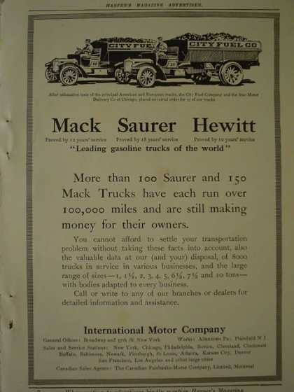Max Sauer Hewitt Trucks International Motor Co AND The Travelers Insurance Co Family loss theme (1913)
