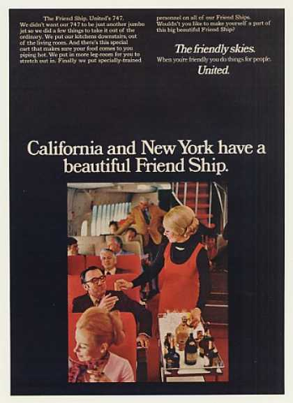 &#8217;71 United Airlines 747 Friend Ship Stewardess Photo (1971)