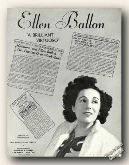 Ellen Ballon Photo Piano Antique Music (1942)