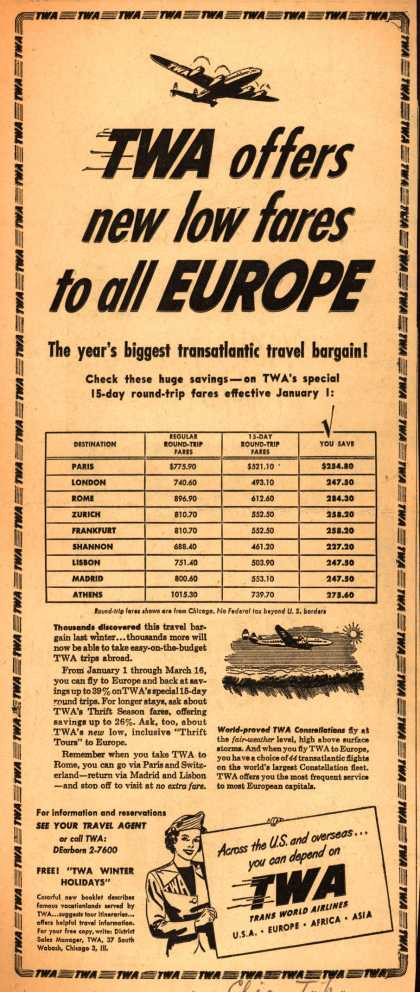 Trans World Airline's Low fares to Europe – TWA offers new low fares to all EUROPE (1950)