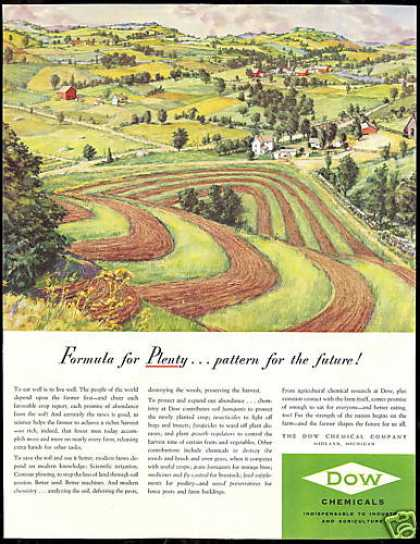 Farm Contour Plowing Farming Dow Chemical (1951)