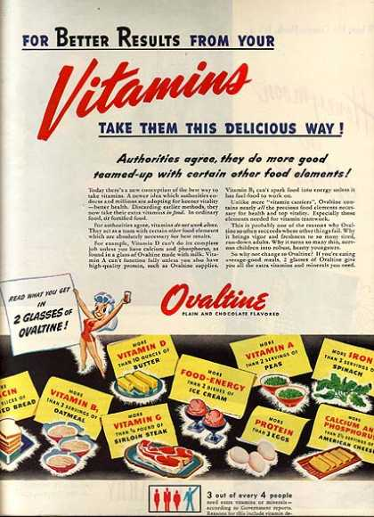 Ovaltine's Plain and Chocolate Flavored Milk Supplement (1945)