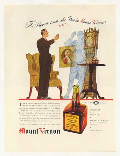 Mount Vernon Whiskey Toast Past G Washington (1937)
