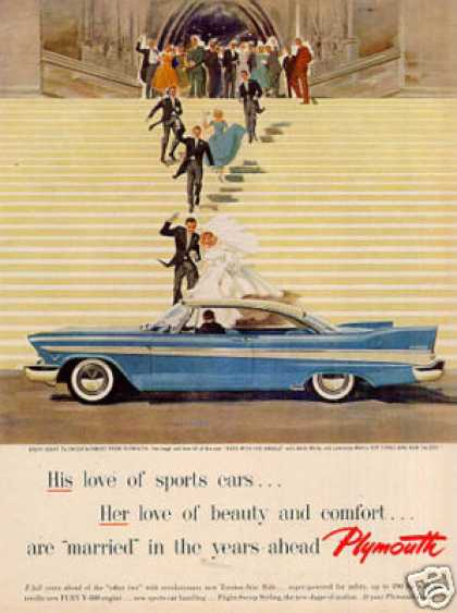 "Plymouth Car Ad ""His Love of Sports Cars... (1957)"