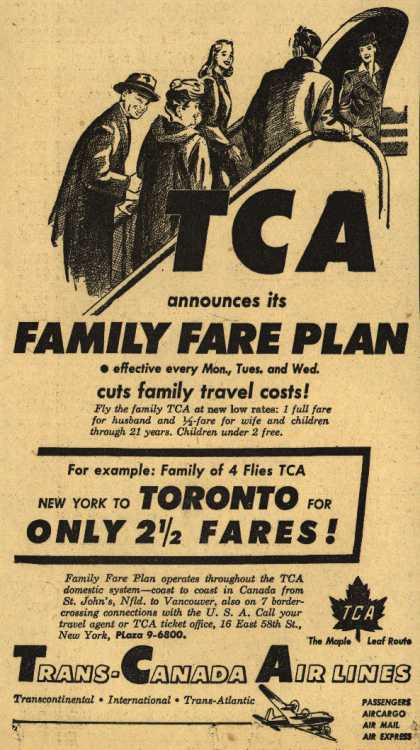 Trans-Canada Air Line&#8217;s Family Fare Plan &#8211; TCA announces its Family Fare Plan (1949)