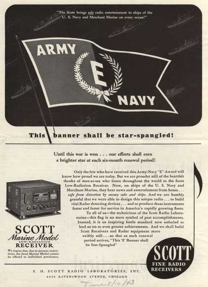 E.H. Scott Radio Laboratorie's Marine Model, Radio – This banner shall be star-spangled (1943)