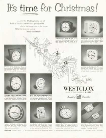 Westclox Pocket Watch Clock 10 Models (1952)