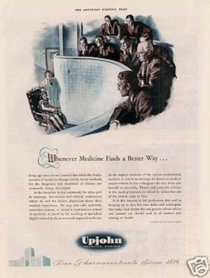 "Upjohn Pharmaceuticals Ad ""Whenever Medicine... (1942)"