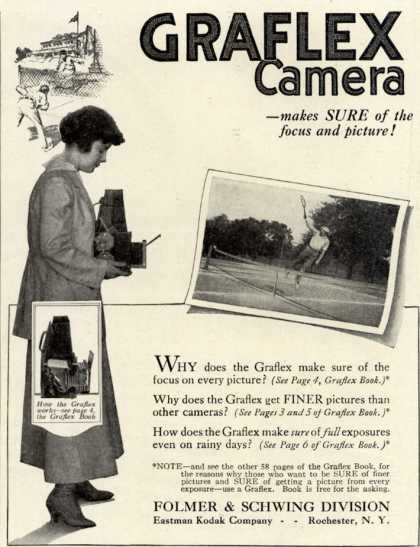 Kodak's Graflex cameras – Graflex Camera – makes Sure of the focus and picture (1916)