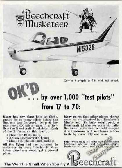 "Beechcraft Musketeer Photo ""1000 Test Pilots"" (1963)"