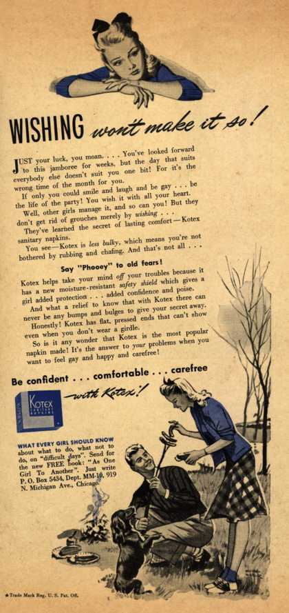 Kotex Company's Sanitary Napkins – Wishing won't make it so (1941)