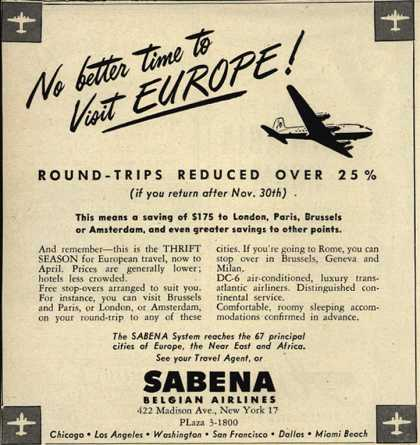 Sabena Belgian Airline's Europe – No better time to Visit Europe (1951)