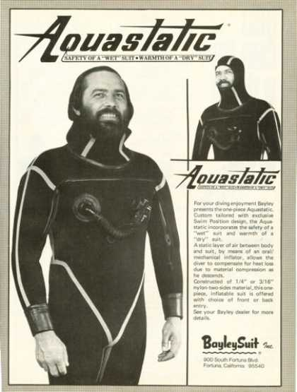 Bayley Suit Aquastatic Scuba Diver Wet Dry Suit (1975)