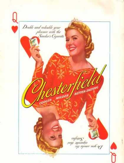 Chesterfield Cigarette – Playing Cards with the Queen – Sold (1940)