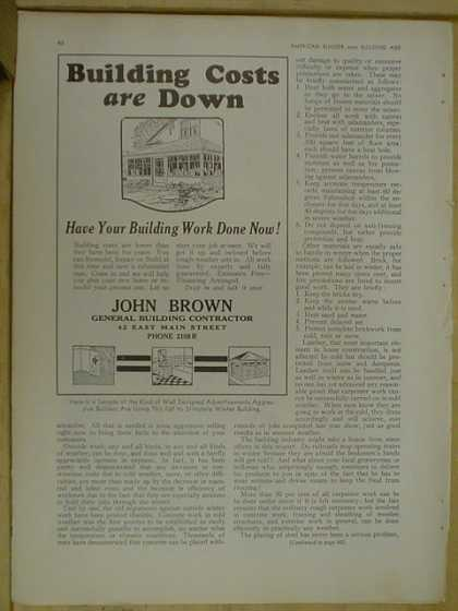 John Brown General building contractor. Building costs are down. (1930)