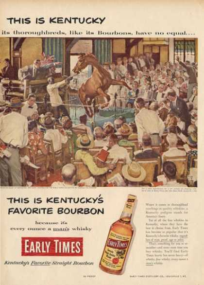 Early Times Bourbon Kentucky Horse Auction Ad T (1952)