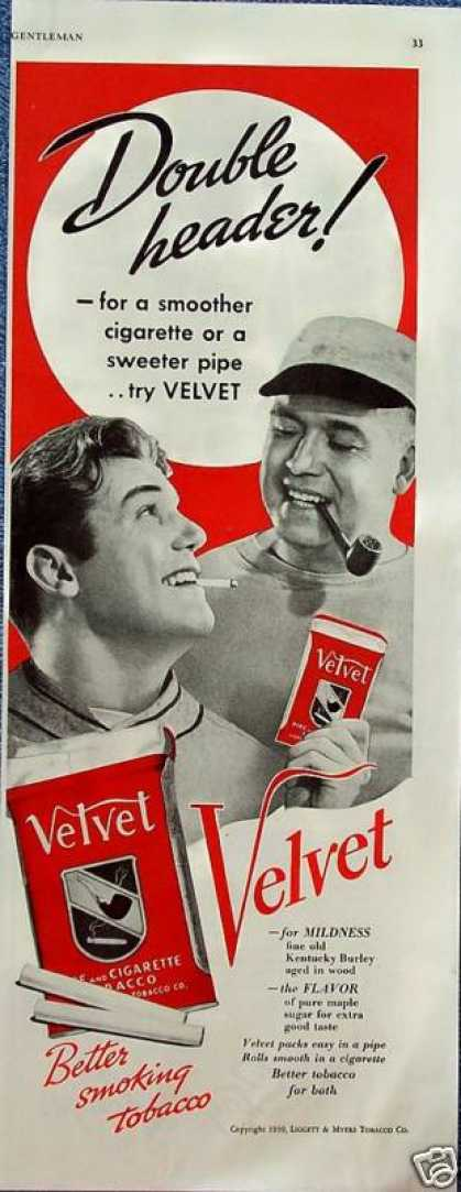Velvet Cigarette Pipe Tobacco Baseball Players (1939)