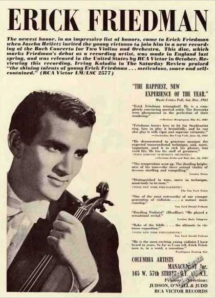 Erick Friedman Photo Violinist Booking (1962)