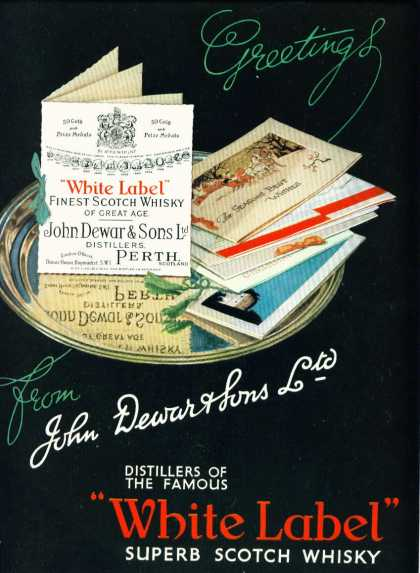 Dewar's White Label Scotch Whisky Big Color Ad Fm (1942)