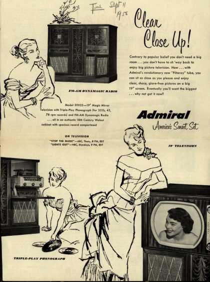 Admiral Corporation's Television Combination model #39X25 – Clear Close Up! Admiral, America's Smart Set. (1950)