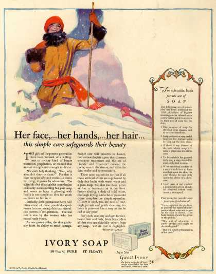 Procter & Gamble Co.'s Ivory Soap – Her face,...her hands,...her hair...this simple care safeguards their beauty (1925)