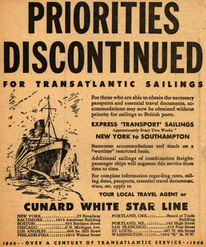 Cunard White Star Line – Priorities Discontinued For Transatlantic Sailings (1946)