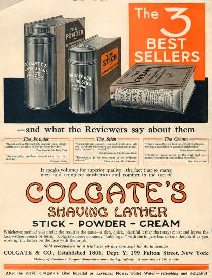 Colgate &amp; Company&#8217;s Colgate&#8217;s Shaving Lather &#8211; The 3 Best Sellers -and what the Reviewers say about them. (1916)