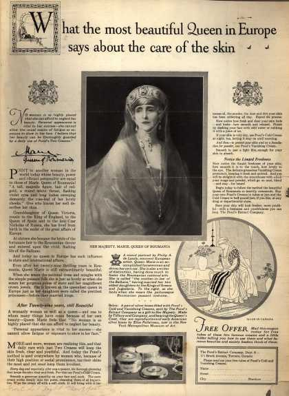 Pond's Extract Co.'s Pond's Cold Cream and Vanishing Cream – What the most beautiful Queen in Europe says about the care of the skin (1925)
