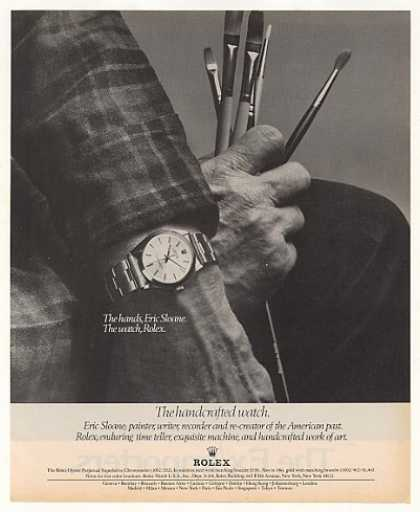 Painter Eric Sloane Hands Rolex Oyster Photo (1977)