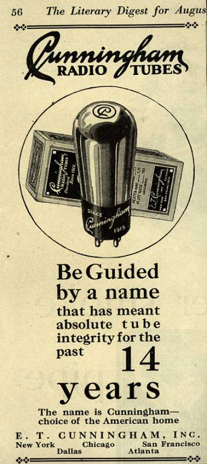 E.T. Cunningham's Radio Tubes – Be Guided by a name (1929)