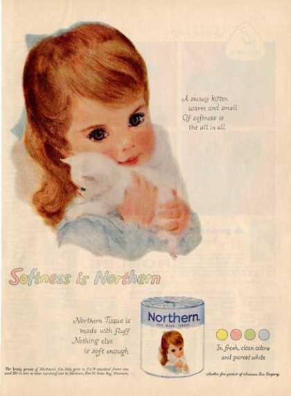 Northwestern Little Girl Bathroom Decor Pink Ad T (1959)
