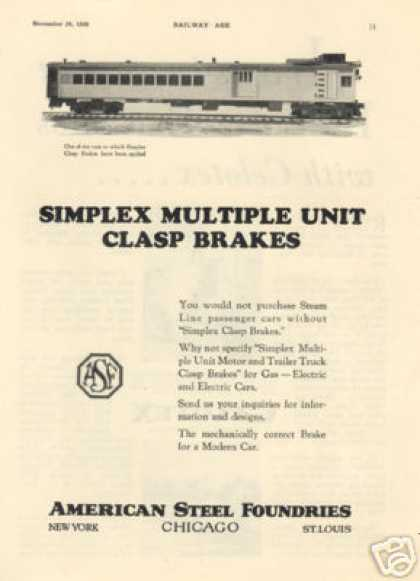 A-s-f Ad Milwaukee Road Rail Motor Car (1928)