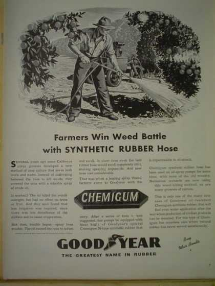 Goodyear Chemigum. Farmers win battle with synthetic rubber hose (1943)