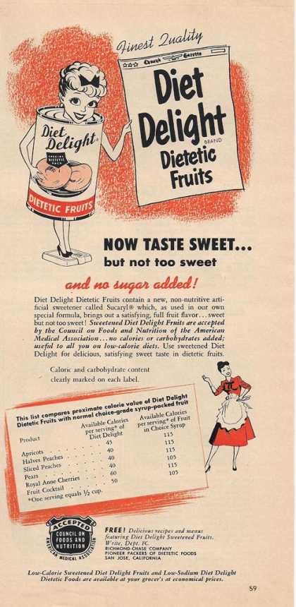 Diet Delight Dietetic Fruits (1953)