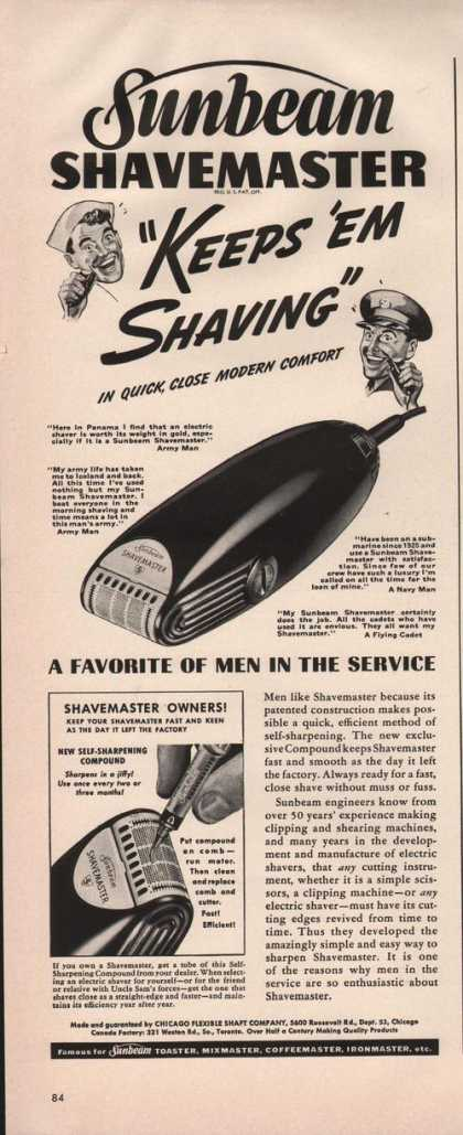"Sunbeam Shave Master ""Keeps Em Shaving"" (1942)"