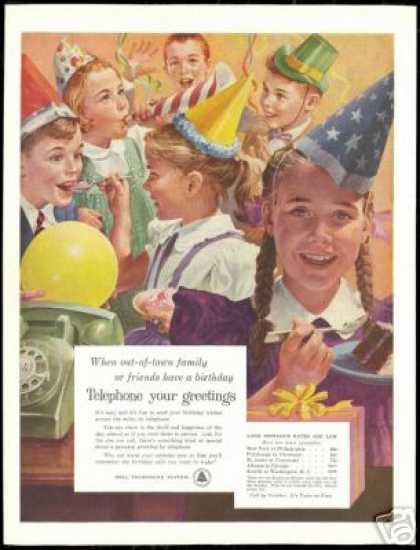 Birthday Party Kids Hats Bell Telephone Art (1956)