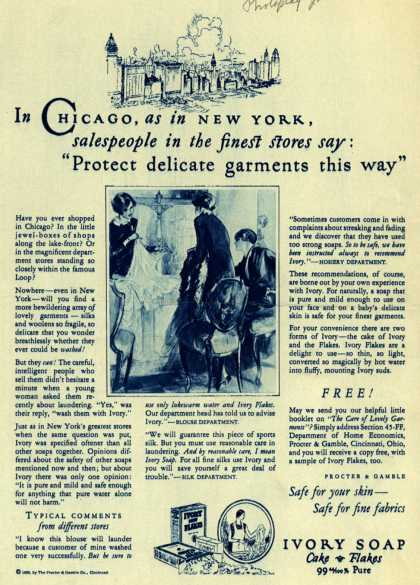 "Procter & Gamble Co.'s Ivory Soap – In Chicago, as in New York, salespeople in the finest stores say: ""Protect delicate garments this way"" (1926)"