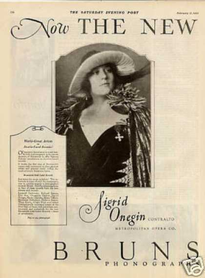 Brunswick Phonograph 2 Page Ad Sigrid Onegin (1923)