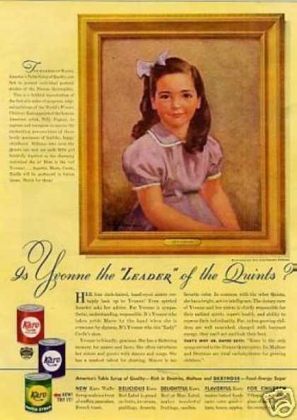 Karo Syrup Ad Yvonne Quint (1940)