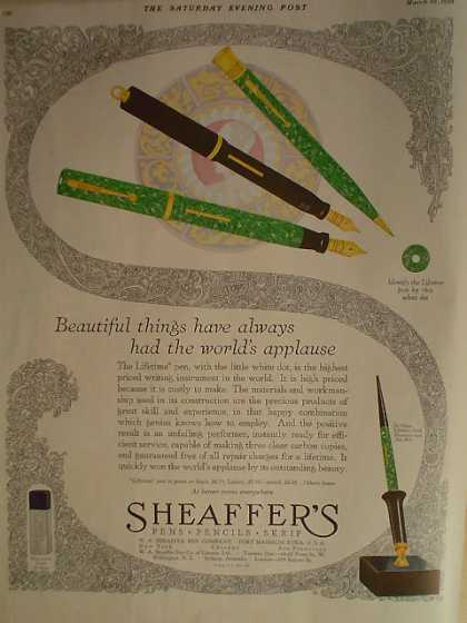 Sheaffer's Pens Pencils Scrip Worlds applause (1928)
