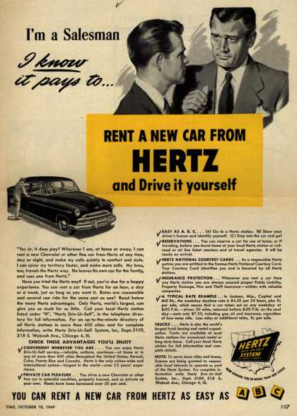 Hertz's convenience and service – I'm a Salesman I know it pays to ... Rent A New Car From Hertz and Drive it yourself (1949)