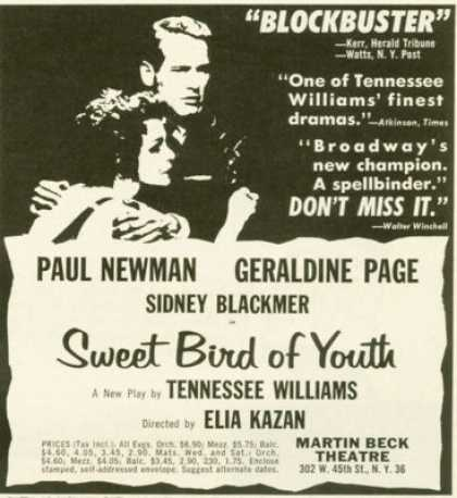 Williams Play Sweet Bird of Youth Ad Paul Newman (1959)