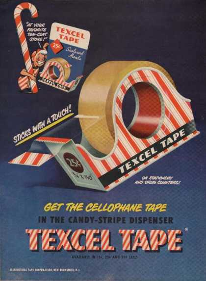 Texcel Candy Stripe Dispenser Tape Print A (1949)