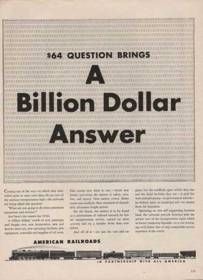 American Railroads Billion Dollar Answer A (1946)