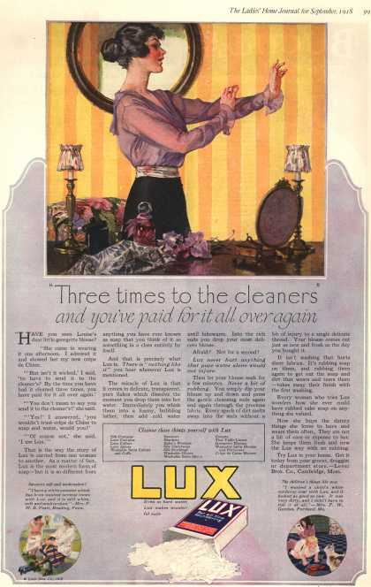 "Lever Bros.'s Lux (laundry flakes) – ""Three times to the cleaners"" and you've paid for it all over again (1918)"