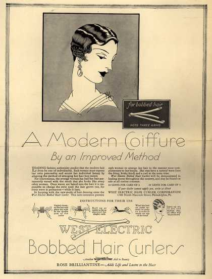 West Electric Hair Curler Company's Hair Curlers – A Modern Coiffure By an Improved Method (1926)