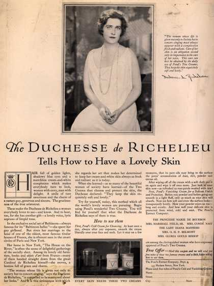 Pond's Extract Co.'s Pond's Cold Cream and Vanishing Cream – The Duchesse de Richelieu Tells How to Have a Lovely Skin (1925)