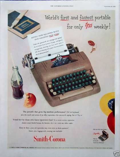 Smith Corona Typewriter Coca Cola Coke Bottle (1952)
