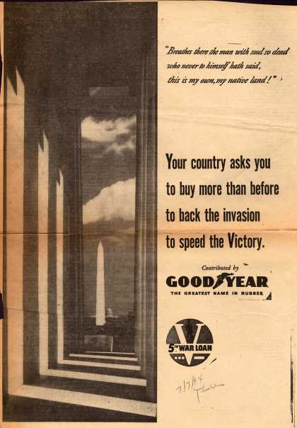Goodyear's 5th War Loan – Your country asks you to buy more than before to back the invasion to speed the Victory (1944)